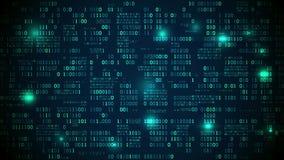 抽象未来派电子与二进制编码、神经网络和大数据-人工智能的元素 影视素材
