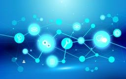 抽象未来派连接结构和象技术概念在深蓝背景 库存图片