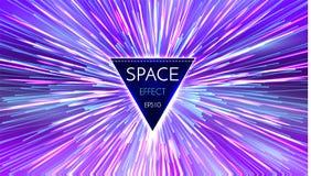抽象未来派透视和行动轻的背景 在超空间的星经线 空间跃迁 库存例证