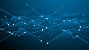 抽象未来派blockchain深蓝背景 白色小点和蓝色形状 传染媒介设计数字技术纹理 向量例证