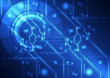 抽象未来派技术电路板背景,传染媒介例证 免版税库存照片