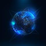 抽象未来派现实地球 全球网络连接 库存图片