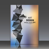 抽象构成、多角形三角建筑,连接小点和线, a4小册子标题板料,空间天空背景, l 免版税图库摄影