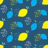 抽象柠檬切片无缝的传染媒介样式 新夏天感觉样式 库存例证