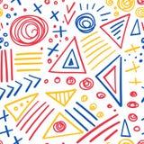 抽象标志五颜六色的线无缝的样式 免版税库存照片