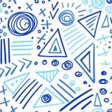 抽象标志靛蓝种族分界线无缝的样式 库存图片