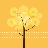 抽象树有黄色背景 免版税库存照片