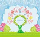 抽象树用复活节彩蛋 图库摄影