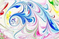 抽象样式,传统Ebru艺术 颜色与波浪的墨水油漆 背景细部图花卉向量 免版税库存照片