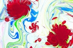抽象样式,传统Ebru艺术 颜色与波浪的墨水油漆 背景细部图花卉向量 库存照片