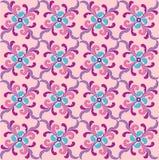 抽象桃红色和蓝色花卉几何无缝的纹理 库存图片