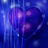抽象桃红色心脏蓝色背景 免版税库存照片