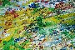 抽象桃红色绿色磷光性灰色橙色金子飞溅五颜六色的纹理,被弄脏的创造性的设计 免版税库存照片