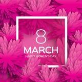 抽象桃红色花卉贺卡-国际愉快的妇女的天- 3月8日假日背景 免版税库存照片