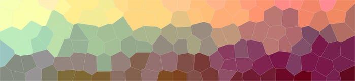 抽象桔子、布朗和绿色中间大小六角形横幅背景的例证 向量例证