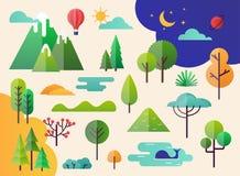 抽象森林植物和树 森林风景 库存例证