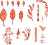 抽象植物的红色的手拉的水彩例证 图库摄影