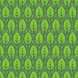 抽象模式无缝的向量 叶子在绿色背景中铺磁砖 免版税库存照片