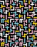 抽象模式无缝的向量 混杂元素 黑色背景 五颜六色的设计 减速火箭的孟菲斯样式 向量例证