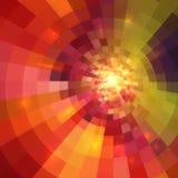 抽象橙色光亮的圈子隧道背景 库存照片