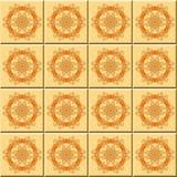 抽象橙色无缝的圆的装饰品 免版税库存图片
