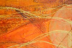 抽象橙色绘画 皇族释放例证