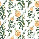 抽象橙色高雅无缝的样式有花卉背景 库存照片