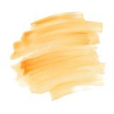 抽象橙色水彩纹理,刷子冲程 库存图片