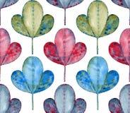 抽象水彩叶子无缝的样式 免版税库存照片