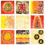 抽象水彩图片 九张小各自的图片的混合 在温暖的颜色的手画图片 库存图片