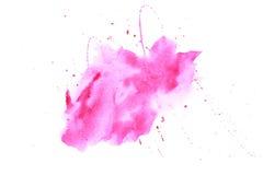 抽象水彩桃红色污点 库存照片