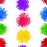 抽象水彩绒球无缝的样式 在白色背景隔绝的圆的五颜六色的花元素 向量例证