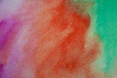 抽象水彩绿色,桃红色,桔子绘了背景 库存照片