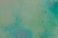 抽象水彩背景和纹理 蓝色、绿色和绿松石手画背景 库存图片