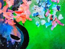 抽象水彩花瓶和花 免版税库存图片