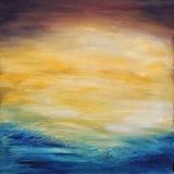 抽象水日落。 在画布的油画。