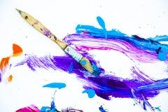 抽象油漆和油漆刷 图库摄影
