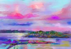 抽象油画风景 五颜六色的蓝色紫色天空 油画室外在帆布 半抽象树,领域,草甸 向量例证