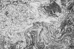 抽象波动图式,黑白色大理石墨水纹理背景 免版税库存图片