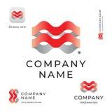 抽象波浪商标现代身分美好的品牌和App象标志商业概念集合模板 库存照片