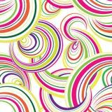 抽象波浪线和圈无缝的样式 栅格漩涡波浪 免版税库存图片