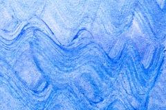 抽象波浪蓝色手拉的丙烯酸酯的绘画创造性的艺术后面 免版税库存图片