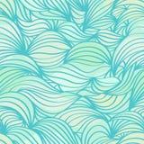抽象波浪蓝绿色无缝的样式 免版税库存照片