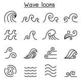 抽象波浪象在稀薄的线型设置了 库存例证