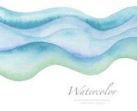 抽象波浪水彩被绘的背景 纸纹理 库存照片