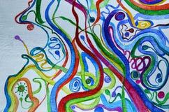 抽象派背景 在画布的油画 多彩多姿的明亮的纹理 艺术品的片段 库存照片