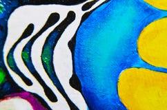 抽象派背景 在画布的油画 多彩多姿的明亮的纹理 艺术品的片段 免版税库存图片