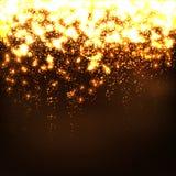 抽象流星-金黄明亮的发光的微粒作用 库存图片