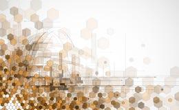 抽象浅褐色的点六角形事务和技术backg 免版税库存照片