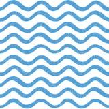 抽象海浪无缝的样式 波浪线条纹背景 免版税库存图片